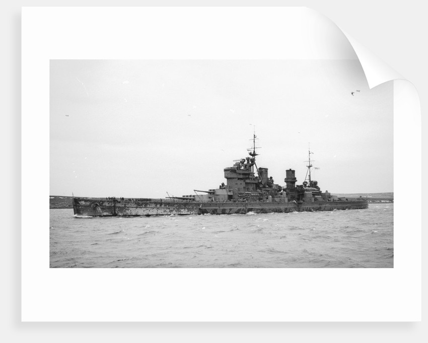 HMS 'King George V' (Br, 1939), under way, bound out at Scapa Flow, 2 April 1941 by unknown