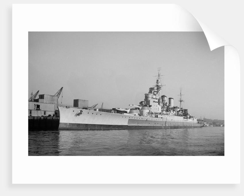 Battlecruiser HMS 'Renown' (1916) in 1945 alongside at Devonport, de-storing by unknown