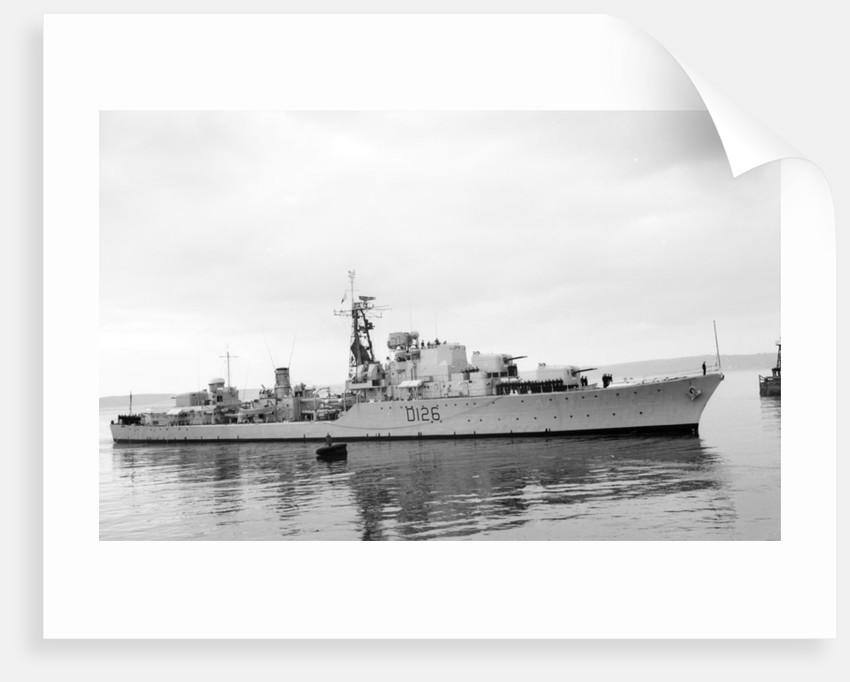 Destroyer HMS 'Diana' (1952) under way at Swansea, bound in by unknown