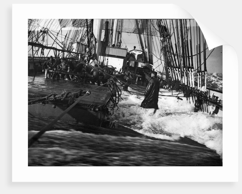 'Medway', 4 masted barque, heavy sea sweeping across deck by unknown