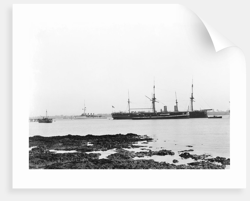 A view from Shotley with 'Adventure' (1904) and 'Ganges', ex 'Caroline' (1882) and 'Ganges II', ex 'Minotaur' (1863) at moorings by Smiths Suitall Ltd.