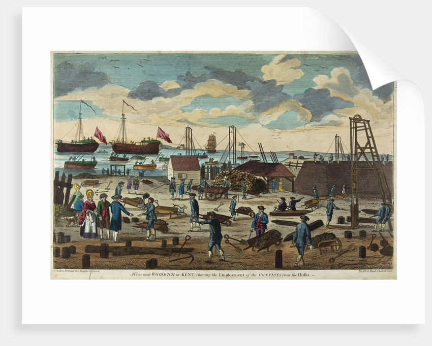 A view near Woolwich in Kent, shewing the employment of the convicts for the hulks by Carver & Bowles