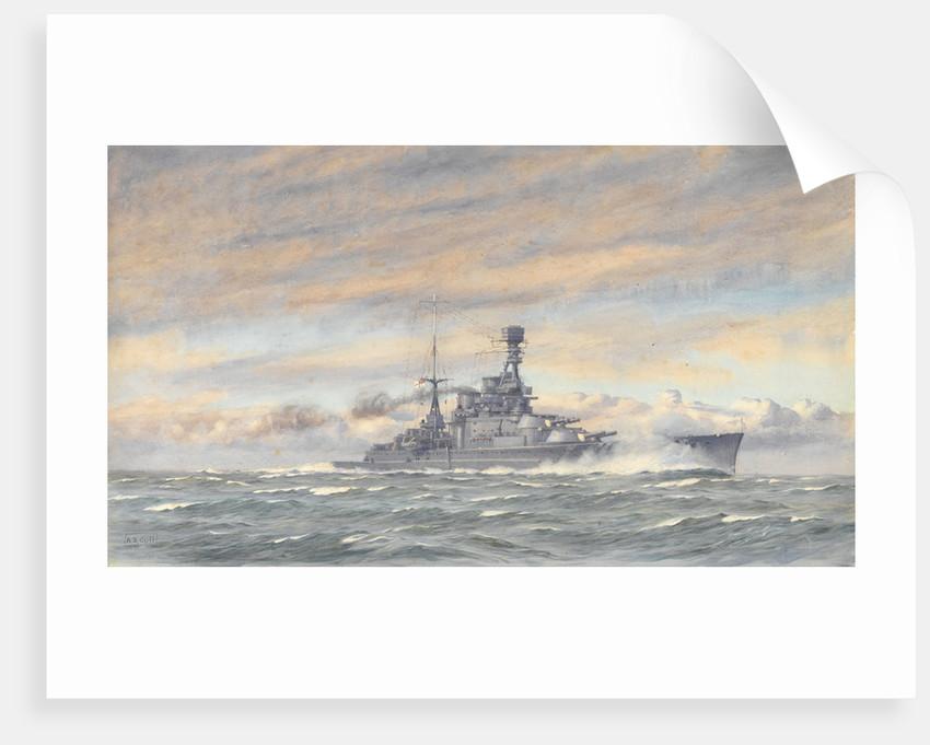 Unidentified battleship at sea by Alma Claude Burlton Cull