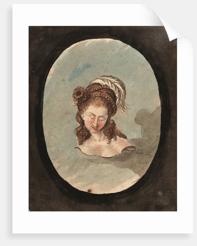 Head and shoulders of a woman with a feather in her hair by Gabriel Bray
