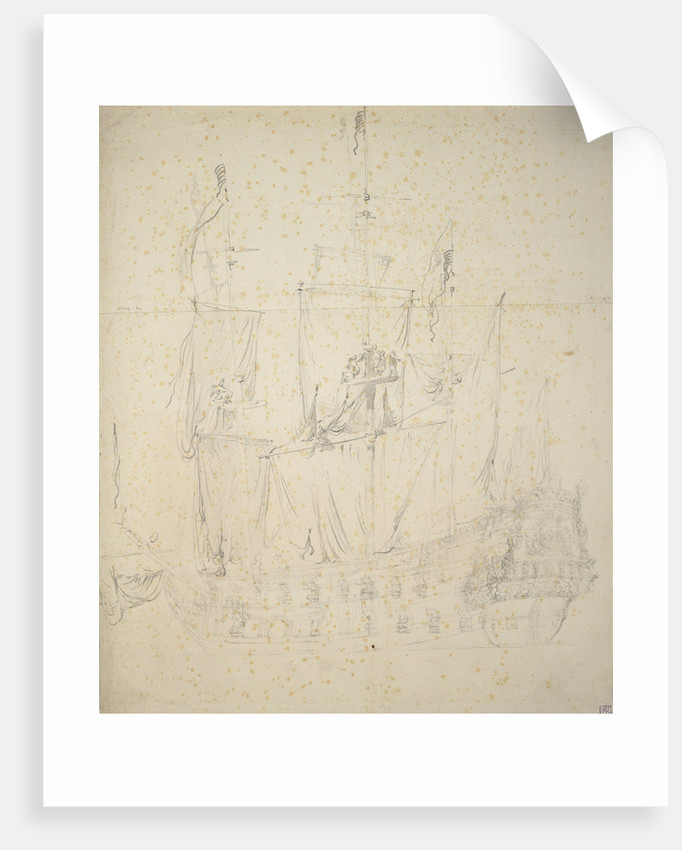 Portrait of the Utrecht? about 50 guns by Willem van de Velde the Elder