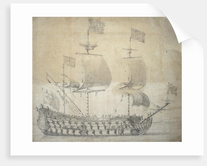 Portrait of the 'Britannia', 100 guns, built in 1682 and rebuilt in 1700 by Willem van de Velde the Elder