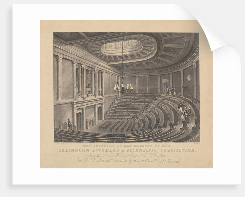 The interior of the Theatre of the Islington Literary and Scientific Institution by Tosswill & Co.