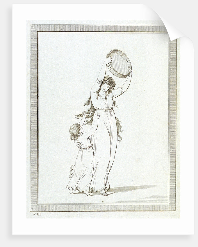 Lady Emma Hamilton and a child in a classical pose, holding a tambourine above her head by Frederick Rehberg