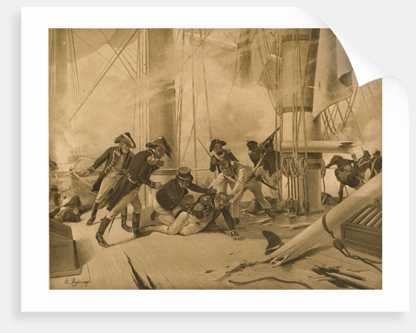 Nelson wounded at The Battle of Trafalgar, 21 October 1805 by N. Dupray