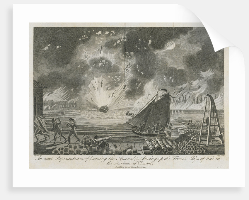Burning of the arsenal and blowing-up of French ships of war in the harbour of Toulon by Crystal
