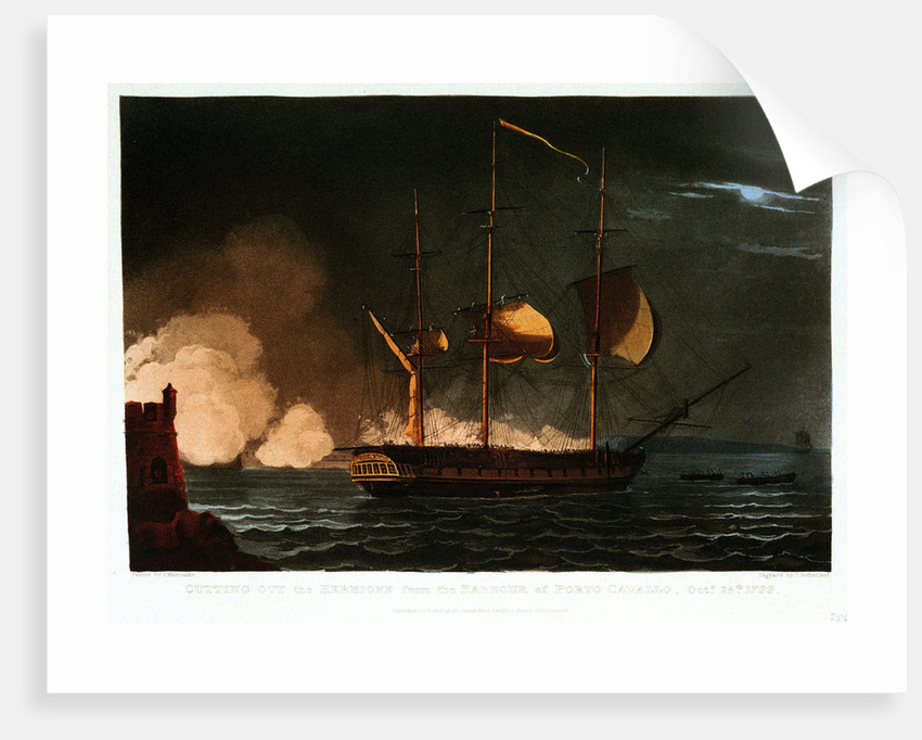 Cutting out the 'Hermione' from the harbour of Porto Cavallo, 25 October 1799 by Thomas Whitcombe