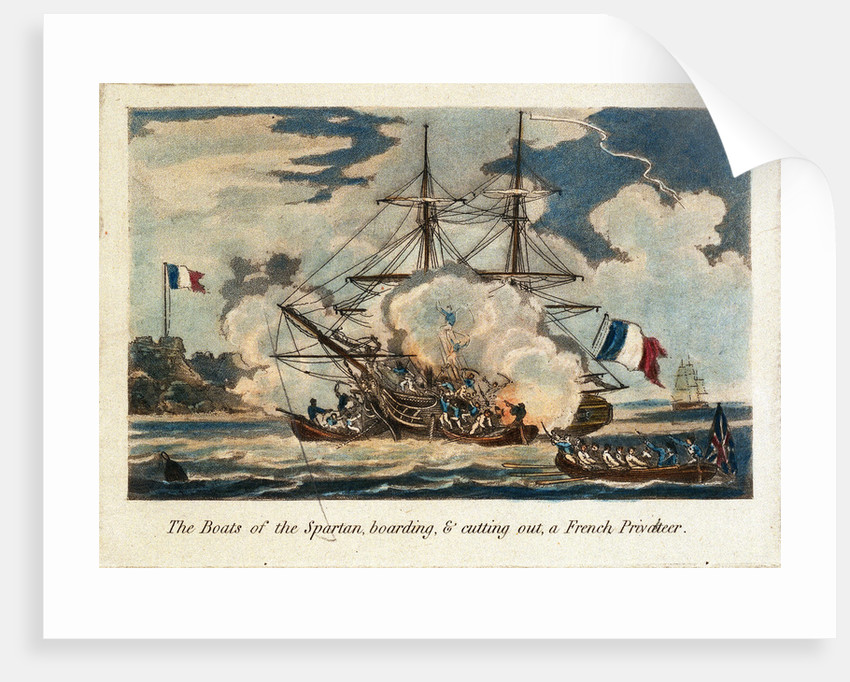 The boats of the 'Spartan' boarding & cutting out a French privateer by unknown