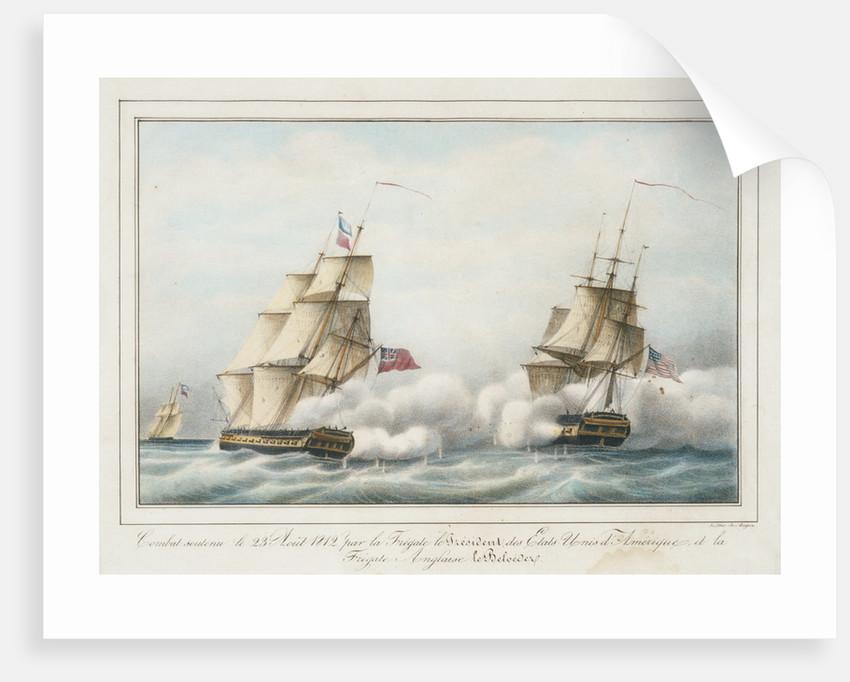 Combat soutenu le 23 Aout 1812 par la Fregate le President des Etats-Unis d' Amerique, et la Fregate Anglais le Belvedere by de Anger