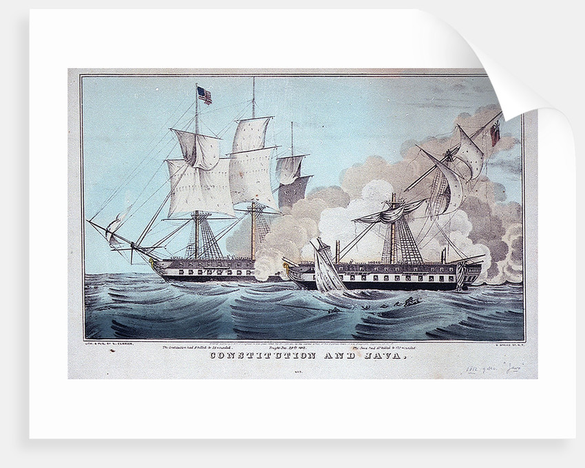 Battle between the 'Constitution' and 'Java', 29 December 1812 by N. Currier