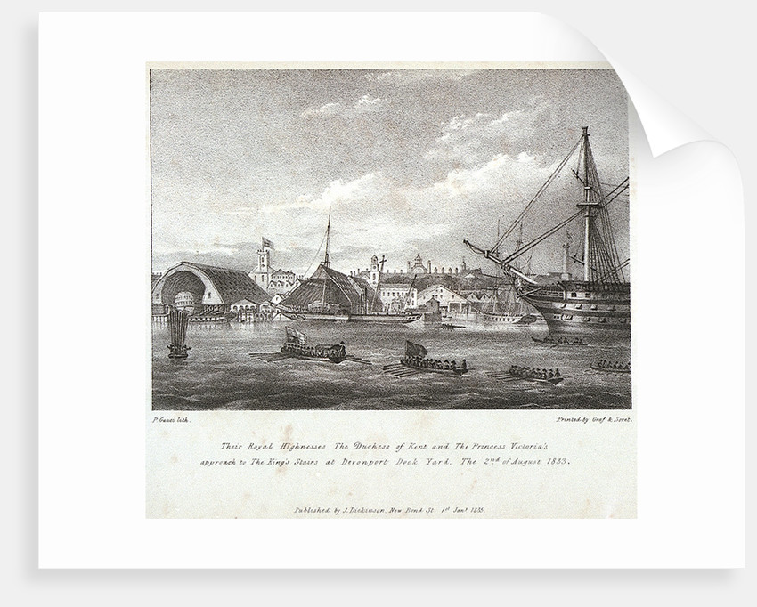 Their Royal Highnesses The Duchess of Kent and The Princess Victoria's approach to the King's stairs at Devonport Dock Yard The 2nd of August, 1833 by P Gauci