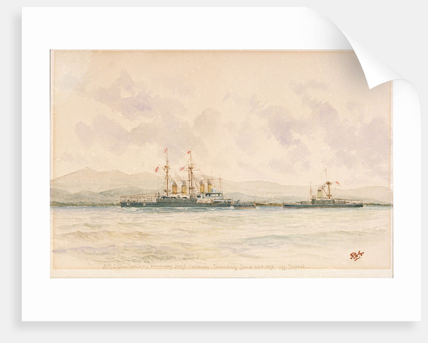 HMS 'Camperdown' ramming HMS 'Victoria' off Tripoli, Thursday, 22 June 1893 by Reginald Graham Gregory