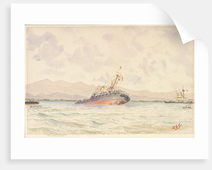 HMS 'Victoria' capsizing boats going to rescue crew by Reginald Graham Gregory