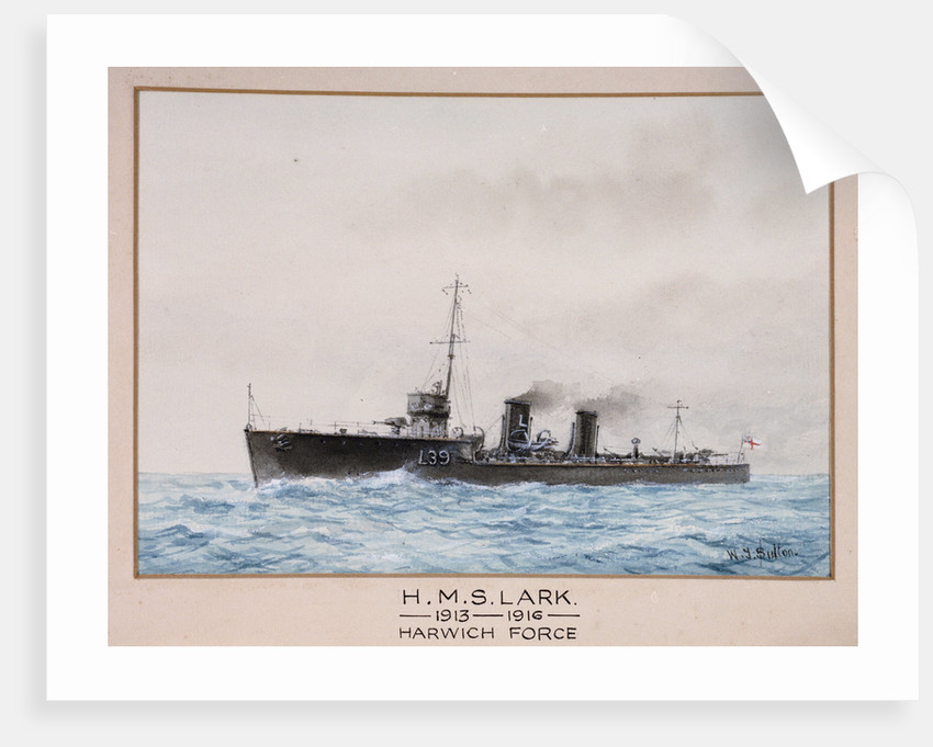 HMS 'Lark', 1913-1916, Harwich Force by W.J. Sutton
