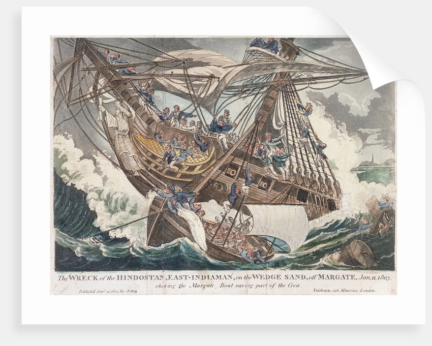 The wreck of the East Indiaman 'Hindostan' by John Fairburn