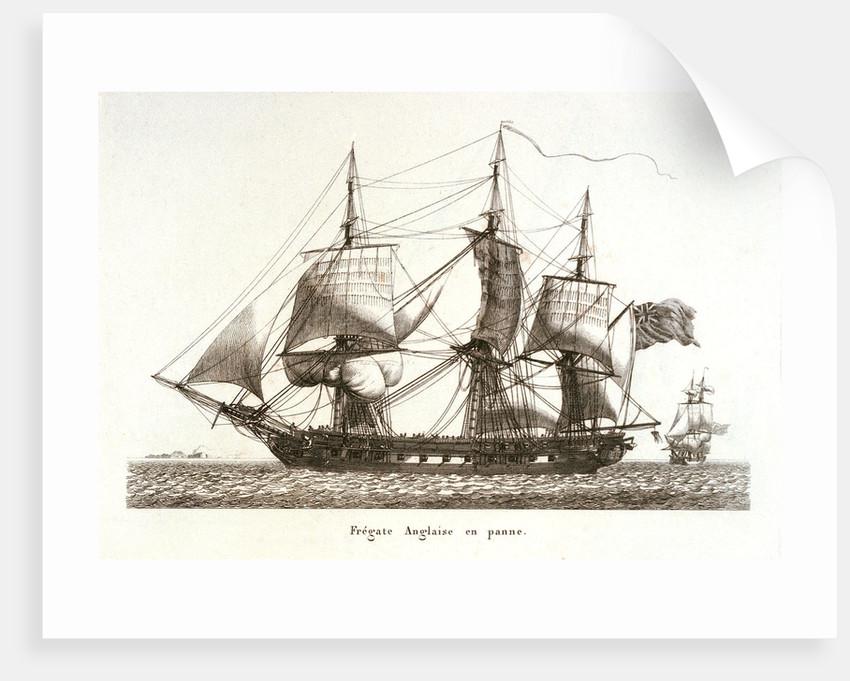 Fregate Anglaise en panne. Plate 29 in Collection de Toutes les Especes de Batimens... 3eme Livraison by Baugean