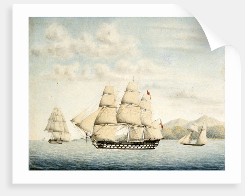 The Ganges sailing out of Rio de Janeiro by Samuel Hood Inglefield