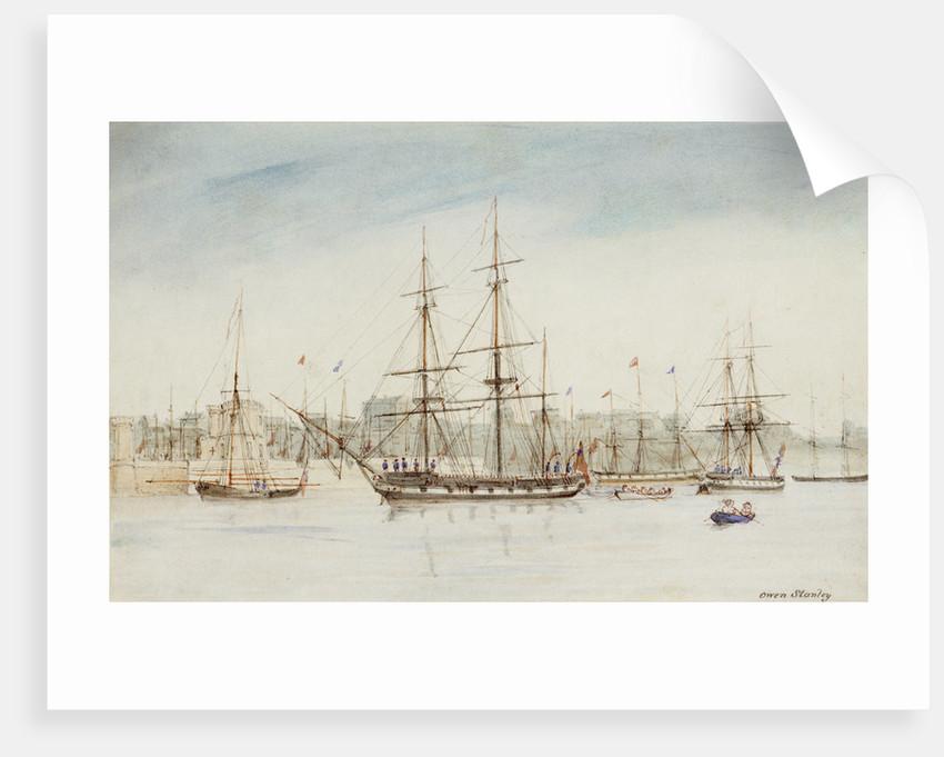 The survey ship HMS 'Beagle' in Sydney harbour by Owen Stanley