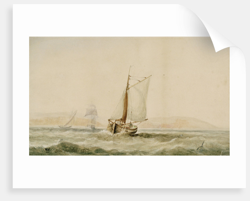 A lugger in a breeze by Arthur Wellington Fowles
