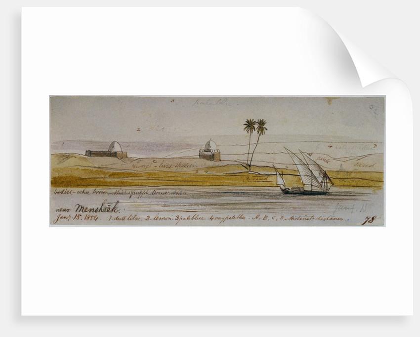 The Nile near Mensheeh, Egypt by Edward Lear