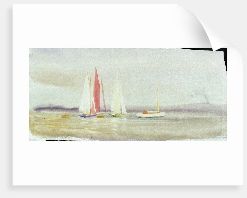 Three yachts and a cabin cruiser by William Lionel Wyllie