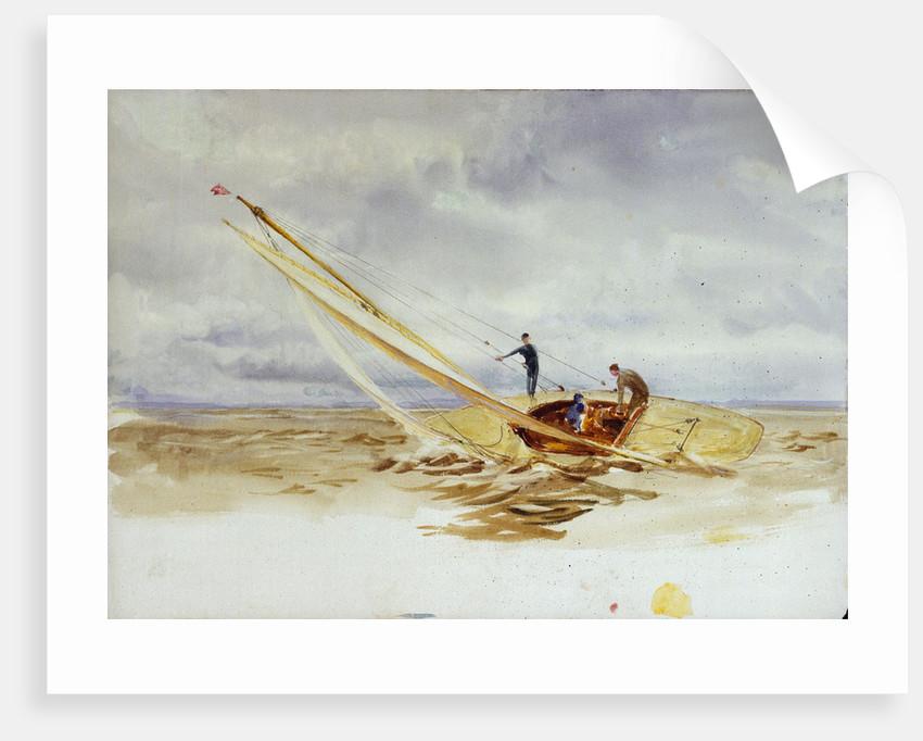 Close-hauled heeling sailing dinghy by William Lionel Wyllie