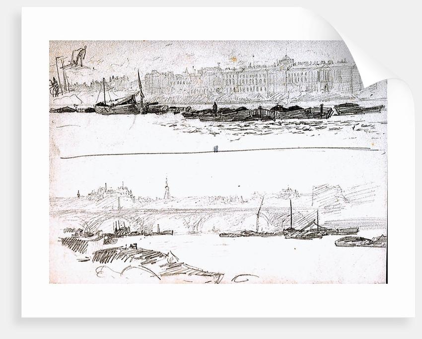 Somerset House and London Bridge by William Lionel Wyllie