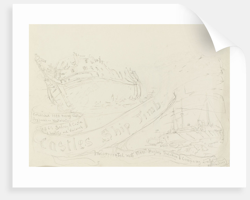 Rough sketch of an advertisement for Castles Ship Timber Co. shipbreakers by William Lionel Wyllie