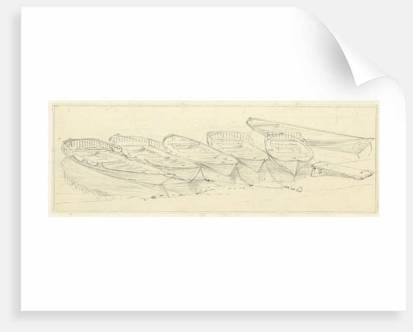 Wherries at Richmond, a study for the shipping and craft plate, with further studies on reverse by Edward William Cooke