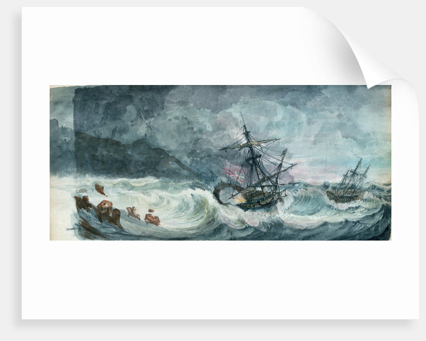 Partly dismasted British man-of-war being driven onto rocks in a storm, with another standing off by D. Tandy