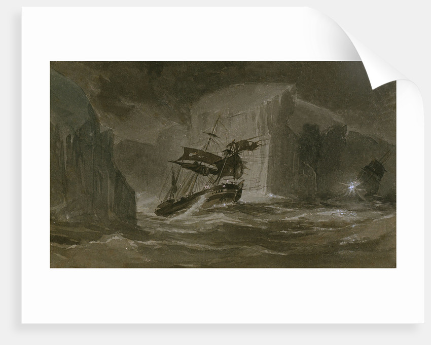 The Erebus passing through the chain of bergs, 13 March 1842 by J.E. Davis