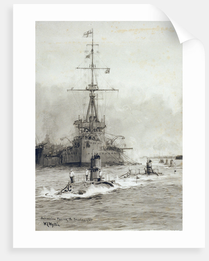 Submarines passing Dreadnought by William Lionel Wyllie