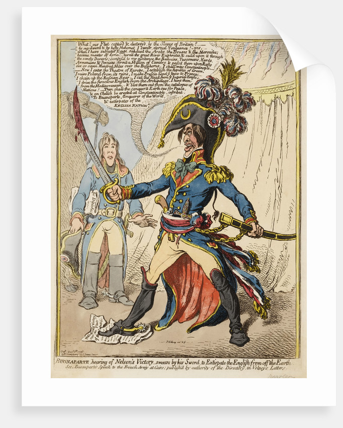 Buonaparte hearing of Nelson's Victory swears by his Sword to Extirpate the English from off the Earth by James Gillray