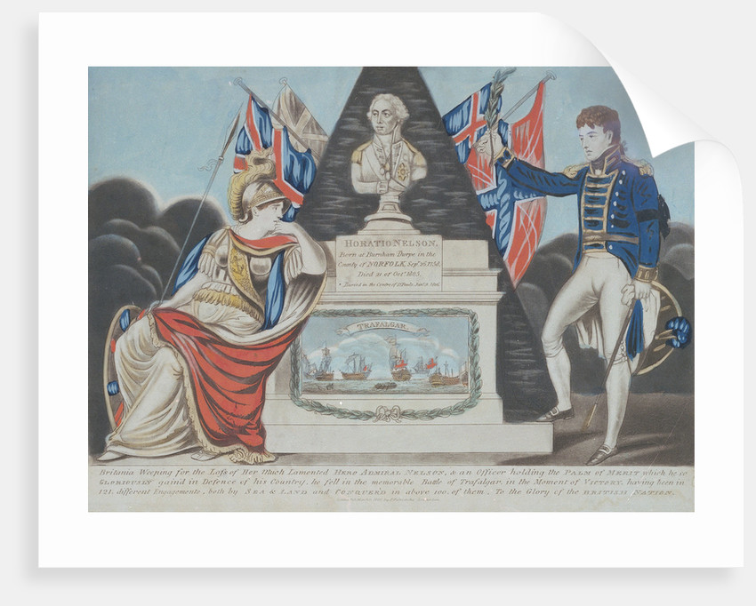 'Britannia Weeping for the Loss of Her Much Lamented Hero Admiral Nelson by P. Patriarcha