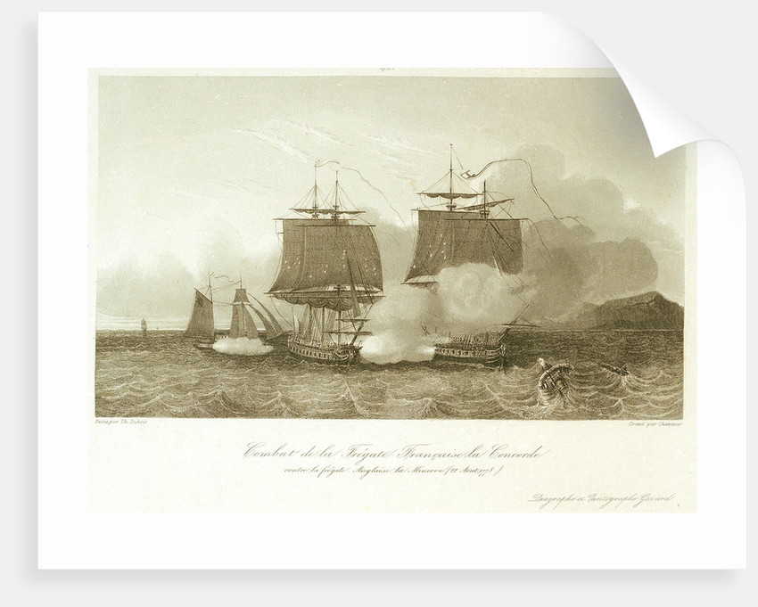 Battle between the French frigate 'Concorde' and the English frigate 'Minerve', 22 August 1778 by Dubois