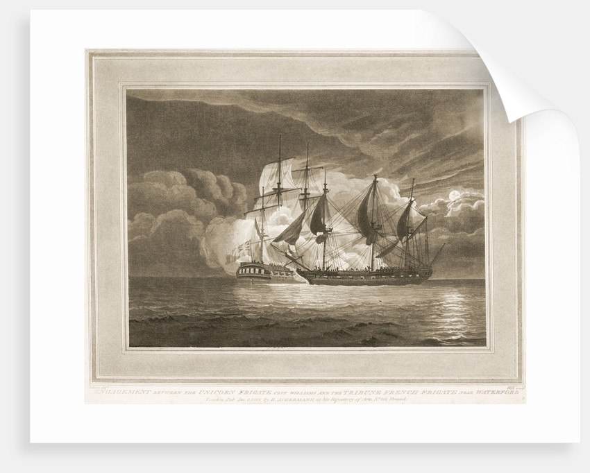 Engagement between the frigate 'Unicorn' and the French frigate 'Tribune' near Waterford by Atkins