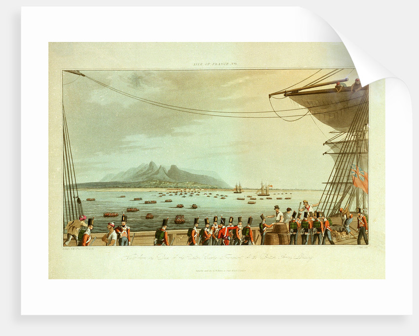Isle of France No. 1. View from the deck of the Upton Castle transport of the British Army landing by R. Temple