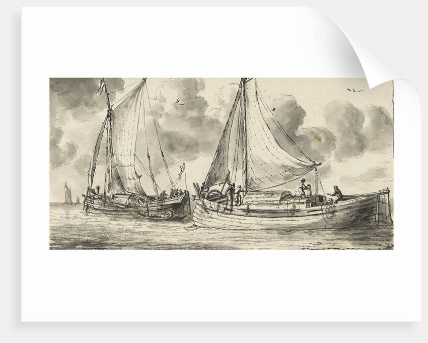 Study of a waterschip and a smalschip - fishing boats by Reinier Nooms