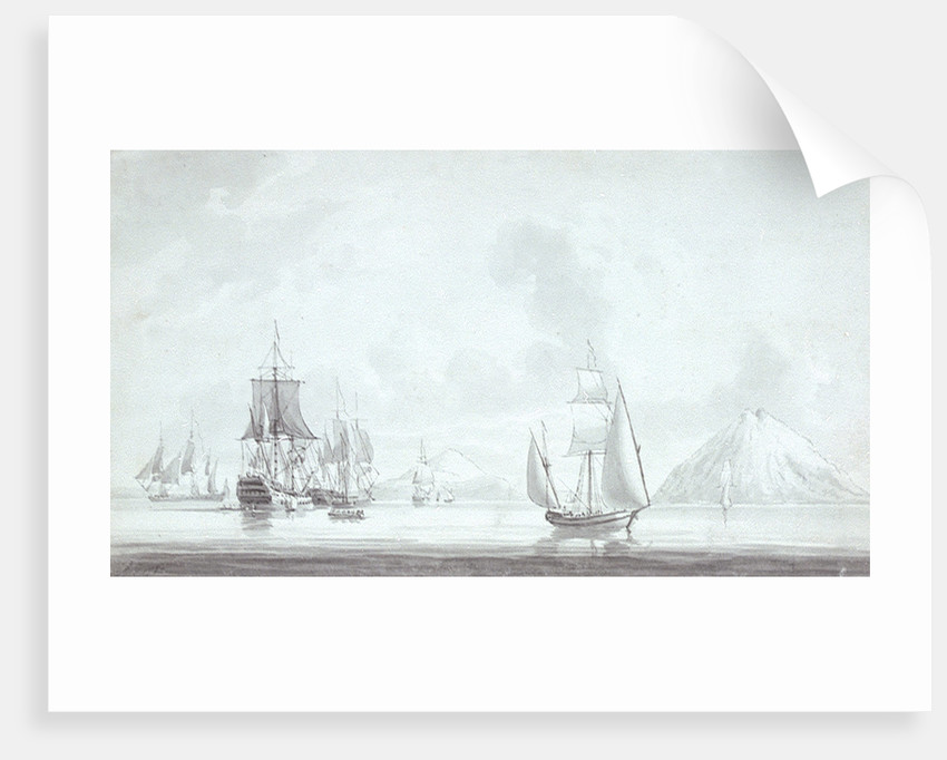 A Polacca and men of war in light airs off Stromboli, 1785 by Robert Cleveley