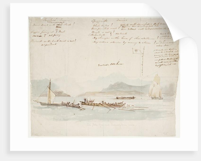 Sir John Ross and Spanish gun boats, 1805 by Nicholas Pocock