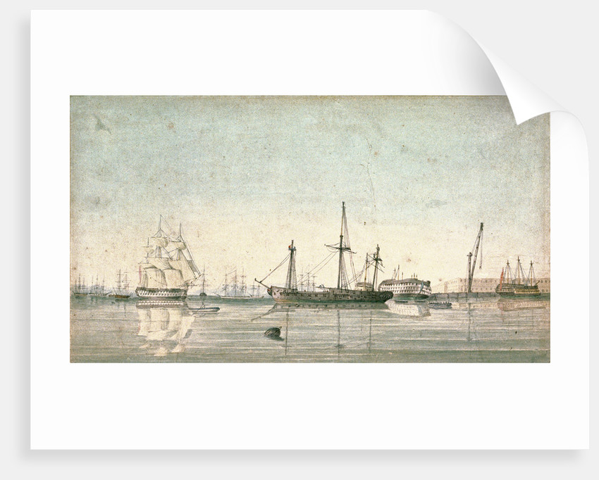 HMS 'Imperieuse'? refitting in the inner harbour of Port Mahon by Robert Hood by Robert Hood