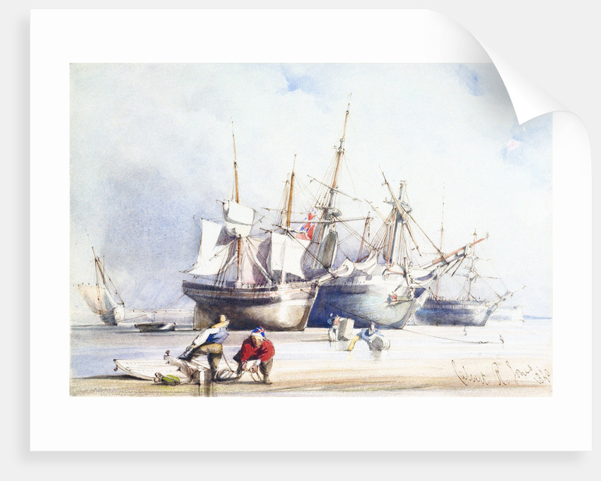 Beached trading vessels and fishermen with block and tackle in foreground, Swansea by Richard Calvert Jones