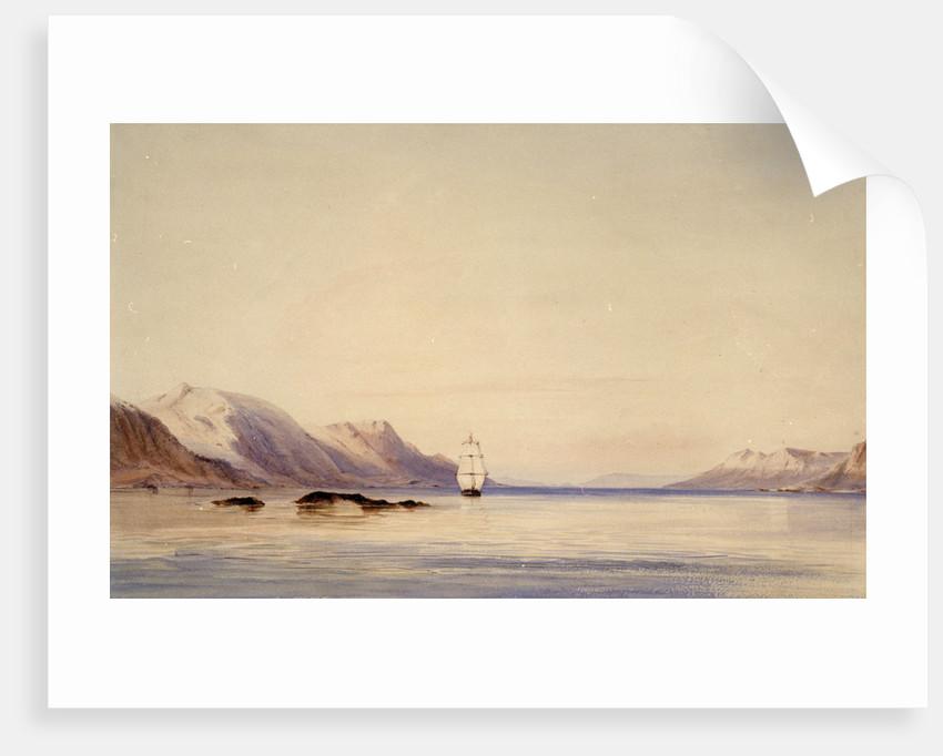 The survey ship HMS 'Beagle' in Beagle Channel, Tierra del Fuego by Conrad Martens