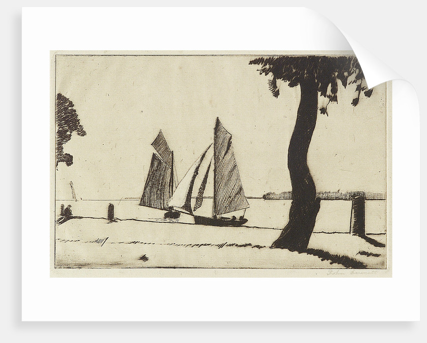 Sailing vessels near a river bank with a tree by Herbert Barnard John Everett