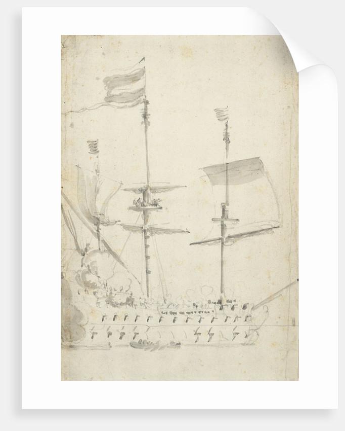 A Dutch flagship under easy sail by Willem van de Velde the Elder