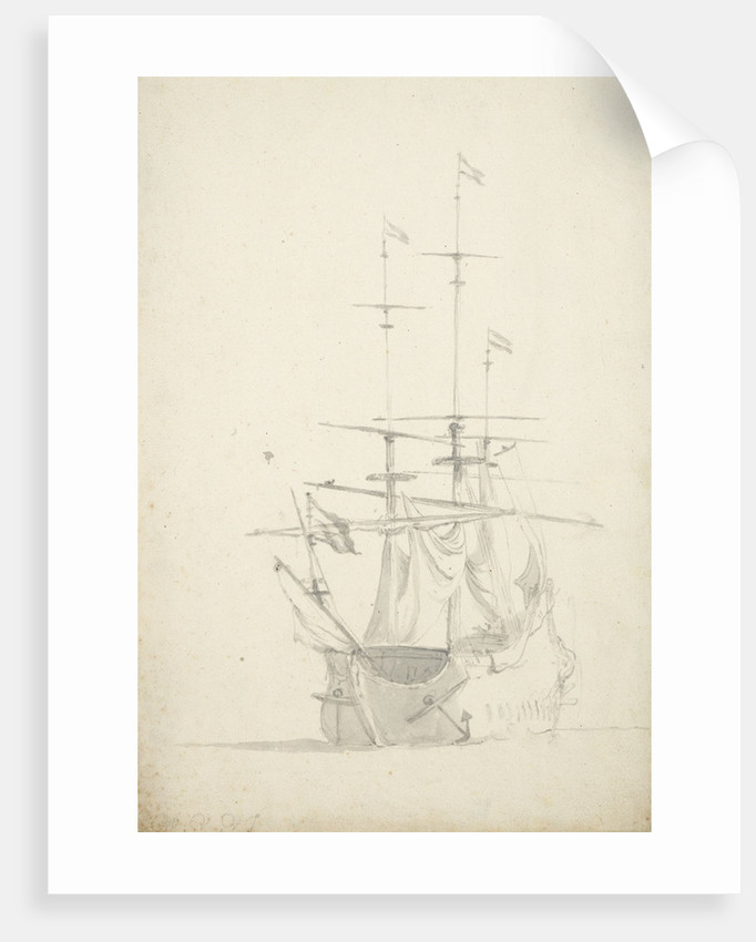 A Dutch ship bending sails by Willem Van de Velde the Younger